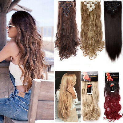 8pcs Full Head Clip in 100% Natural Hair Extensions as Human Real Thick Straight