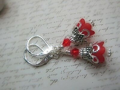Bell Flower Earrings Small Tulip TEA PARTY RED Dangle Lucite leverback