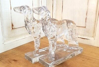 1930's Dalzell Viking Glass Dog Sculpture Bookends Russian Borzoi Wolfhound