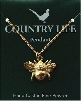 Bee Gold Plated Pewter Pendant On A Chain