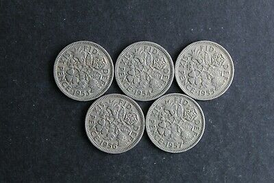Vintage Lucky Sixpences. Date Run 1953-1957. Elizabeth II. Great Condition.