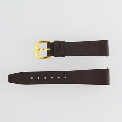 New Mens Watch Band 2-Strap Brown Flat Calfskin Leather 17 Short Buckle 11102713
