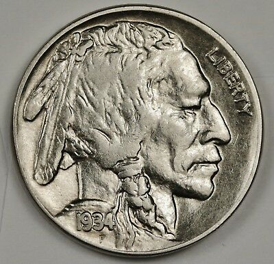 1934 Buffalo Nickel.  A.U.  132166