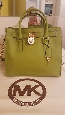852d703ece0b **NEW** GENUINE green Michael Kors large leather HAMILTON tote bag with dust