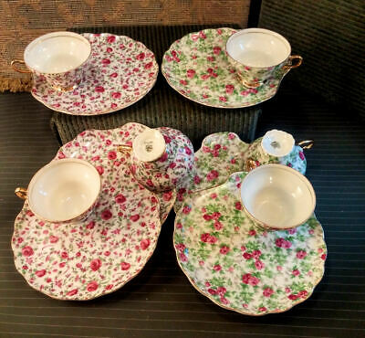 6-Lot Vintage Napco Dessert / Luncheon Tea Sets (Plate & Cup) ~ Red / Pink Roses