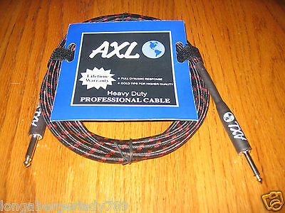 Black Red Tweed  20' Professional Guitar Cable Cord Bass Instrument Pa Effects