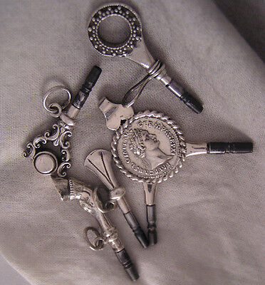 """5 SOLID SILVER  Keys - A""""Two Sizes Coin"""" &  A""""Hoof"""" For Antique Watches PERFECT"""