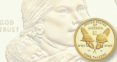 2016 Denver Sacagawea Native American Indian Coin Code Talkers Golden U.S. Mint