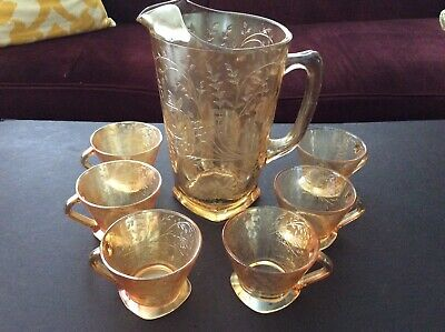 Vtg Set Depression Glass Jeanette Floragold Water Pitcher & Cups - Square Bottom