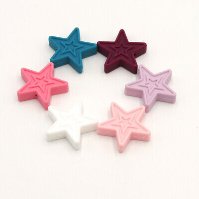 5X Silicone Beads Star Baby Teether Teething Toys Bead Chewing Soother Necklace