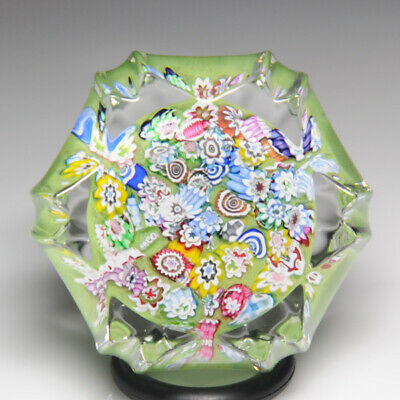 Peter McDougall scrambled millefiori fluted miniature glass paperweight