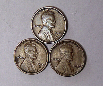 Lot of 3 VF Lincoln Cents 1913-S 1915-S 1926-S San Francisco Mint (12-518)