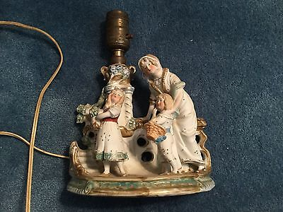 Antique Germany bisque porcelain lamp figural mother and children