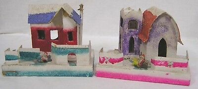 Vintage Christmas LOT Two Putz Houses w Miniature Santa in Front Japan 1940s