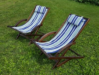 PAIR (2) CANVAS Wood Folding Beach Chairs Vintage - $125.00 ...