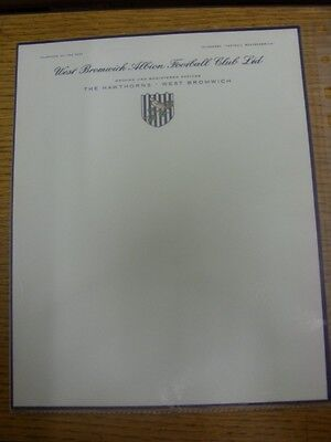circa 1960's West Bromwich Albion: Official Club Headed Paper, Single Sheet, Ful