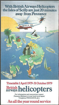 PENZANCE 2 x 1970s BRITISH AIRWAYS S61 HELICOPTERS TIMETABLES
