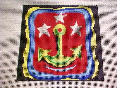 Needlepoint Canvas Hand Stitch Painted Patti Mann 7453 Anchor Stars 18 Count
