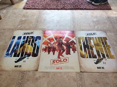 SOLO A STAR WARS STORY 2018 D/S Original Promo Movie Poster 13.5X20 LOT OF 3