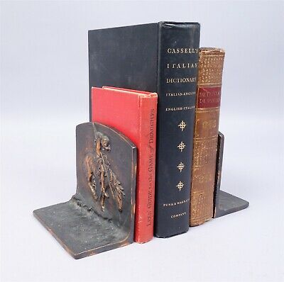 Antique c1900 Fraser End of the Trail American Indian Bronze Bookends