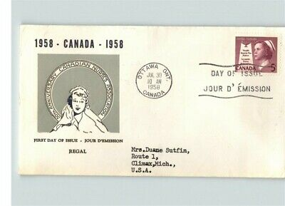 CANADA, Scarce thermograph cachet, NURSING, 1958 First Day of Issue
