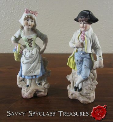 Weiss Kuhnert & Co Antique Germany Bisque Porcelain Figurines Colonial Boy Girl