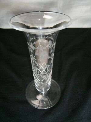 Antique Collectable Etched Floral Design & Diamond Cut Fine Crystal Vase
