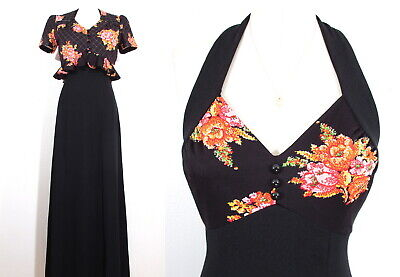 1930's mEEts 1970's HALTER DRESS & QUILTED JACKET Bolero Prom Disco Formal S/M
