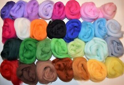 30 Colors Bag Fine Merino Wool Roving Fiber Pack Felting,Weaving