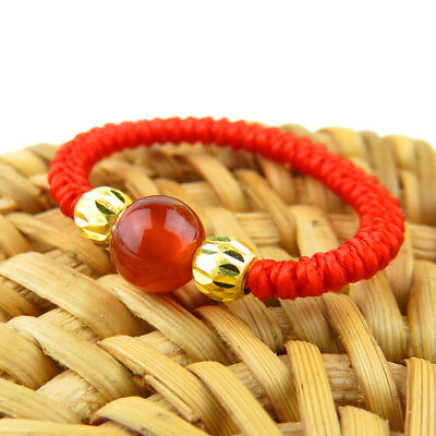 Pure 24K Yellow Gold 2pcs Lucky Gold Bead with Agate Red Knitted Ring Size 8