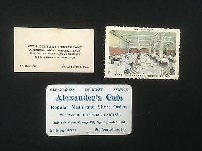 Lot of 3 Business, Advertising Cards Florida Restaurants ALEXANDER's CAFE, JENKS