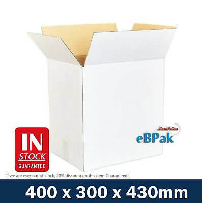 25x Moving Box 400x300x430mm - White - 50L Removalist Shipping Carton Box