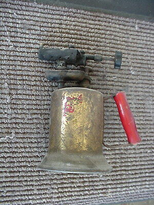 Vintage Brass 10.5 Inch Blow Torch Most Of Label Missing Nice Condition