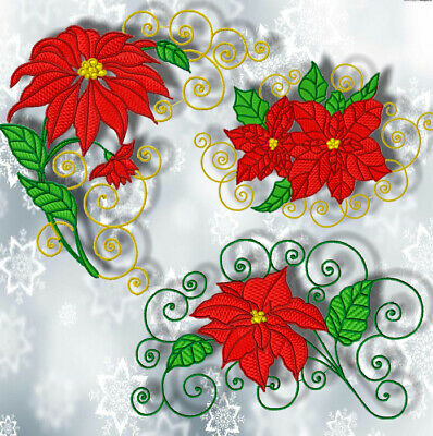 CHRISTMAS POINSETTIA  10 MACHINE EMBROIDERY DESIGNS CD or USB