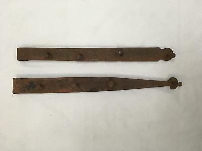 "Lot of 2 Large Heavy 22"" Antique Iron Hinges Blacksmith Made Barn Door? Gate?"