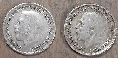 1916 & 1919 Great Britain silver 3 pence! nice circulated! fd114