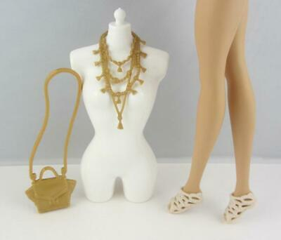 Barbie Style Glam Fashion Accessory Lot .. Gold Necklace Purse Tan Sandals Shoes