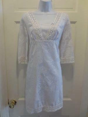 0923583c70eddd LILLY PULITZER Womens Fab BRIGHT WHITE LACE 3/4 SLEEVES Summer DRESS Size XS