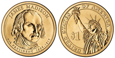 2007 P James Madison Presidential One Dollar Coin From U.S. Mint Money Coins