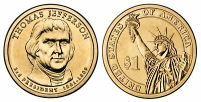 2007 D Thomas Jefferson Presidential One Dollar Coin U.S. Mint Money Coins Cents