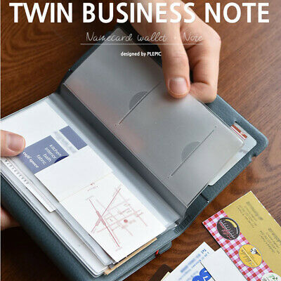 Twin Business Journal + 16 Name Card Pocket Album Wallet Type Notebook Memo Book