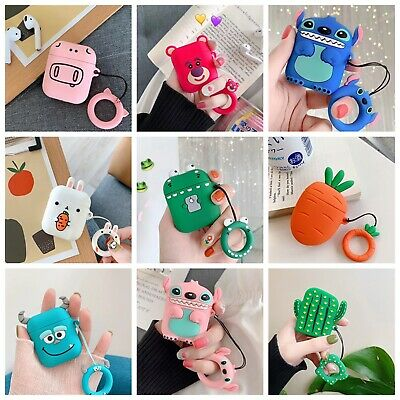Cute Cartoon Silicone Earphone Case Protective Cover Ring Skin For Apple AirPods