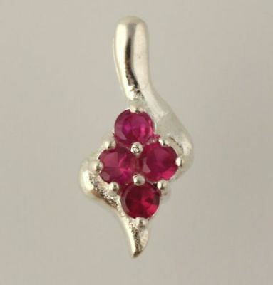 NEW Synthetic Ruby Dangle Pendant - 925 Sterling Silver Women's Fine Red