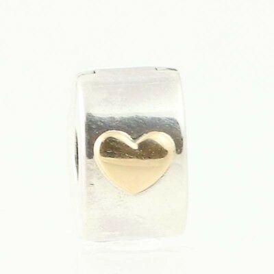 5804583f11b New Authentic Pandora Classic Heart Clip Charm Sterling 14k Gold Bead 792080