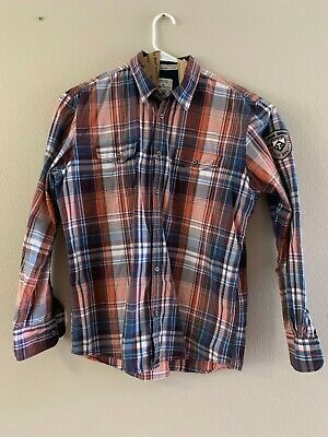 classic outlet on sale store EUC TOM TAILOR Red Blue Gray Plaid Colared Shirt Mens Large ...