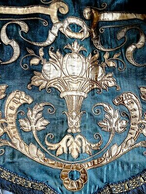 French antique silk velvet valance embroidery 19th-century