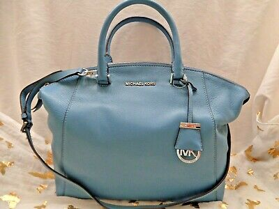 dc88a6f76d1b NWT Michael Kors Large Leather Riley Convertible Satchel Handbag - Sky Blue