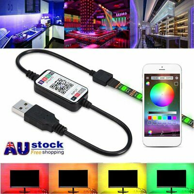 5050 USB Powered 1M-5M RGB LED Strip Light Wireless Bluetooth Control Lights AU