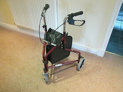 1800 Drive Disabled Elderly 3 Wheel Walking Aid with Storage Bag Folds Used