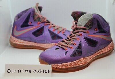new product ca4f1 d9b51 NIKE LEBRON X 10 AS AREA 72 ALL-STAR LASER PURPLE CRIMSON ORANGE 583108-